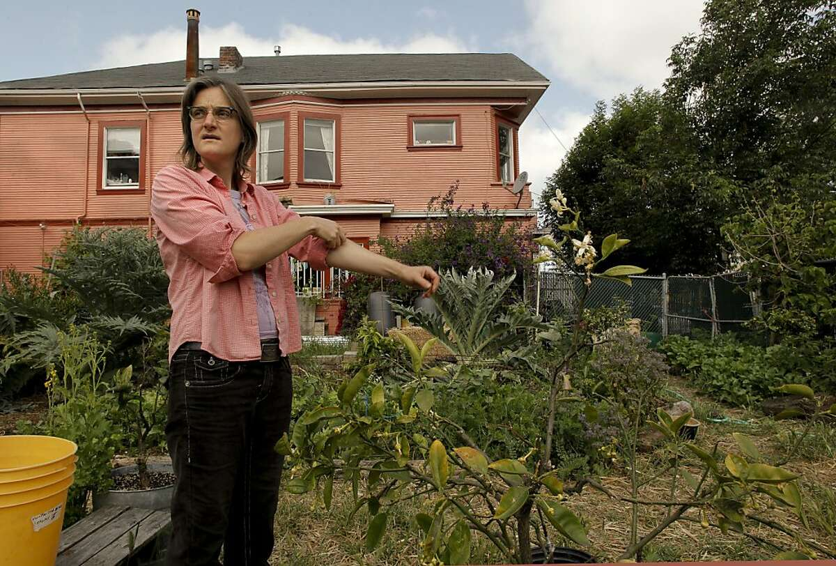 Novella Carpenter, is in the process of shuting down her GhostTown Farm on the corner of Martin Luther King Blvd. and 28th Street in Oakland, Ca., on Saturday May 7, 2011. For eight years Carpenter and her boyfriend have farmed on a vacant urban lot growing vegetables and raising ducks, goats and rabbits. The City of Oakland came by her farm and shut her down, saying she needed a $5,000 permit to grow vegetables there.