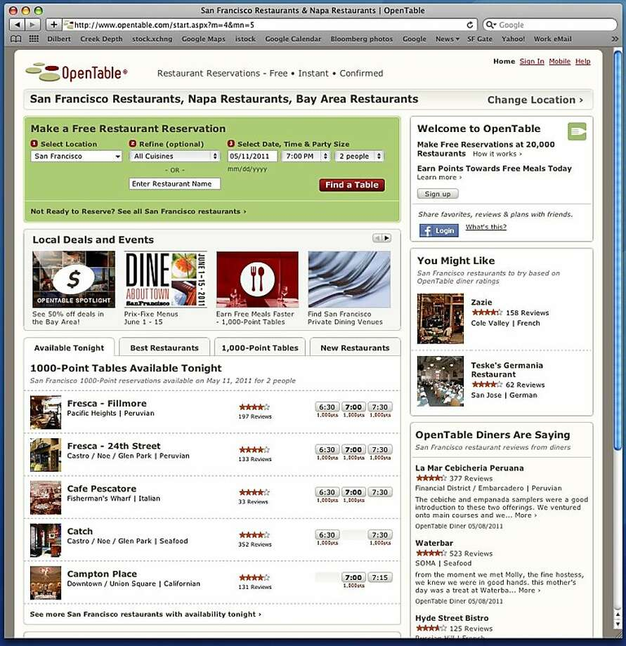 screenshot from opentable.com, a restaurant reservation site Photo: Opentable.com