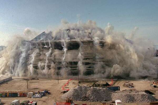 What can we say? 3/26/00 8:31am-The Kingdome implosion from King Street looking south. Kingdome blown in to make room for new football stadium