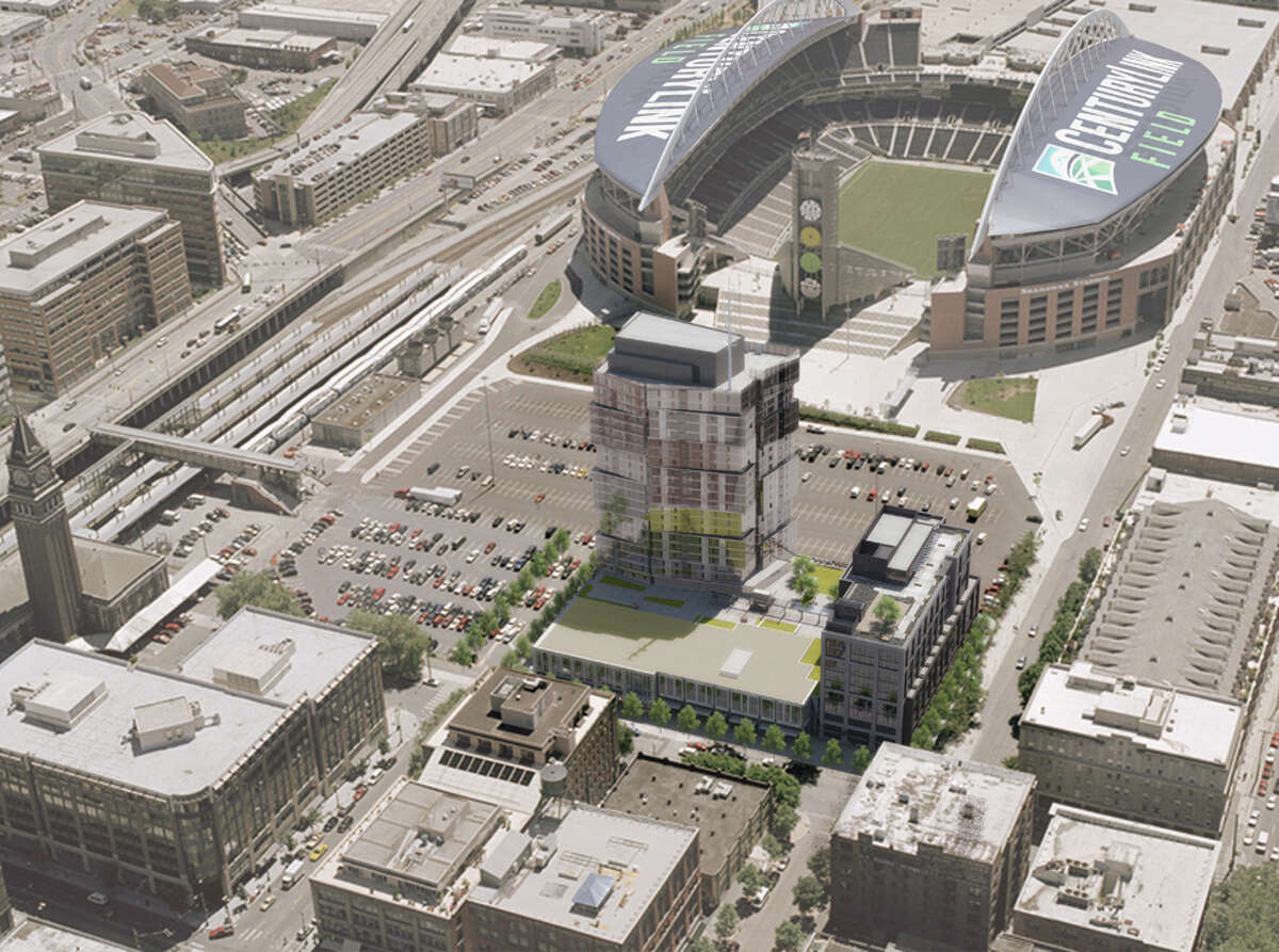 The proposed Stadium Place south tower is depicted in place north of CenturyLink Field.