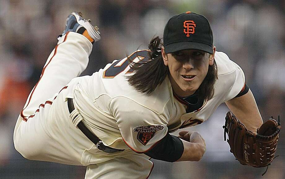 San Francisco Giants pitcher Tim Lincecum watches a throw to the Arizona Diamondbacks during the first inning of a baseball game Tuesday, May 10, 2011, in San Francisco. Photo: Ben Margot, AP