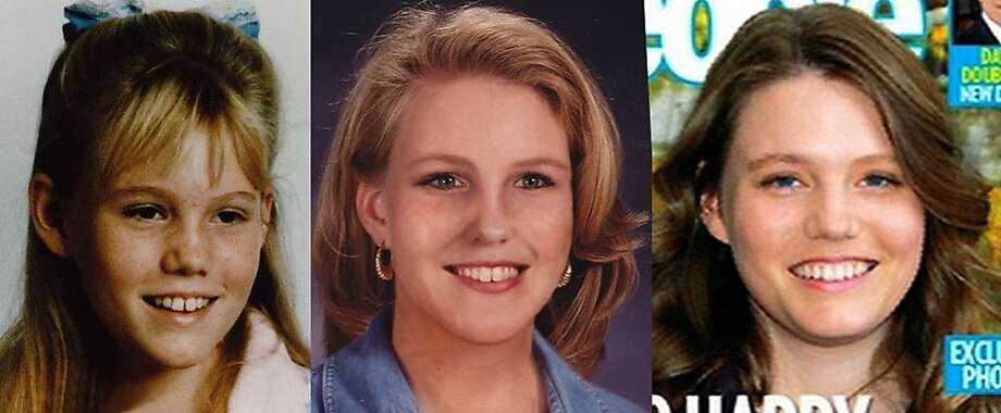 "Jaycee Dugard as she appeared before being kidnapped, left; in an ""age progression"" photo compiled by the National Center for Missing and Exploited Children before she was found in August 2009; and as she appeared on the cover of People magazine in October 2009. Photo: Nat'l Ctr For Missing & Exploite"
