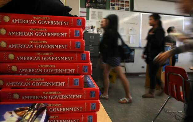 A stack of American Government textbooks are seen on a table at the end of Chuck Raznikov's American Democracy class at Lowell High School in San Francisco, Calif., Wednesday, May 4, 2011. Photo: Lea Suzuki, The Chronicle