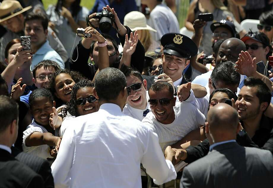 US President Barack Obama shakes hands with people after speaking on immigration at the Chamizal National Memorial on May 10, 2011 in El Paso, Texas. Obama has recently revived his goal of achieving comprehensive immigration reform, opening a path to legalization for the estimated 11 million foreign nationals living in the country illegally, most of them Hispanics. Photo: Jewel Samad, AFP/Getty Images
