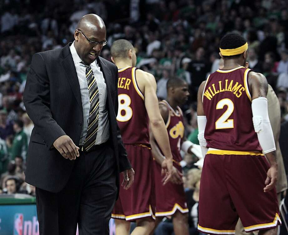 "FILE - This May 9, 2010, file photo shows Cleveland Cavaliers coach Mike Brown looking down during a timeout as players Anthony Parker (18) and Mo Williams (2) walk to the bench during the second half of Game 4 in a second-round NBA basketball playoff series in Boston. The Celtics won 97-87. ""After a long and deep analysis of all of the factors that led to the disappointing early ends to our playoff runs over the past two seasons, we concluded that it was time for the Cavaliers to move in a different direction,"" Gilbert said Monday, May 24, 2010,  in a statement released by the team. Photo: Elise Amendola, AP"