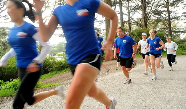 Members of the San Francisco Road Runners Club sprint at Golden Gate Park's Stow Lake on Tuesday, May 10, 2011, in San Francisco. Photo: Noah Berger, Special To The Chronicle