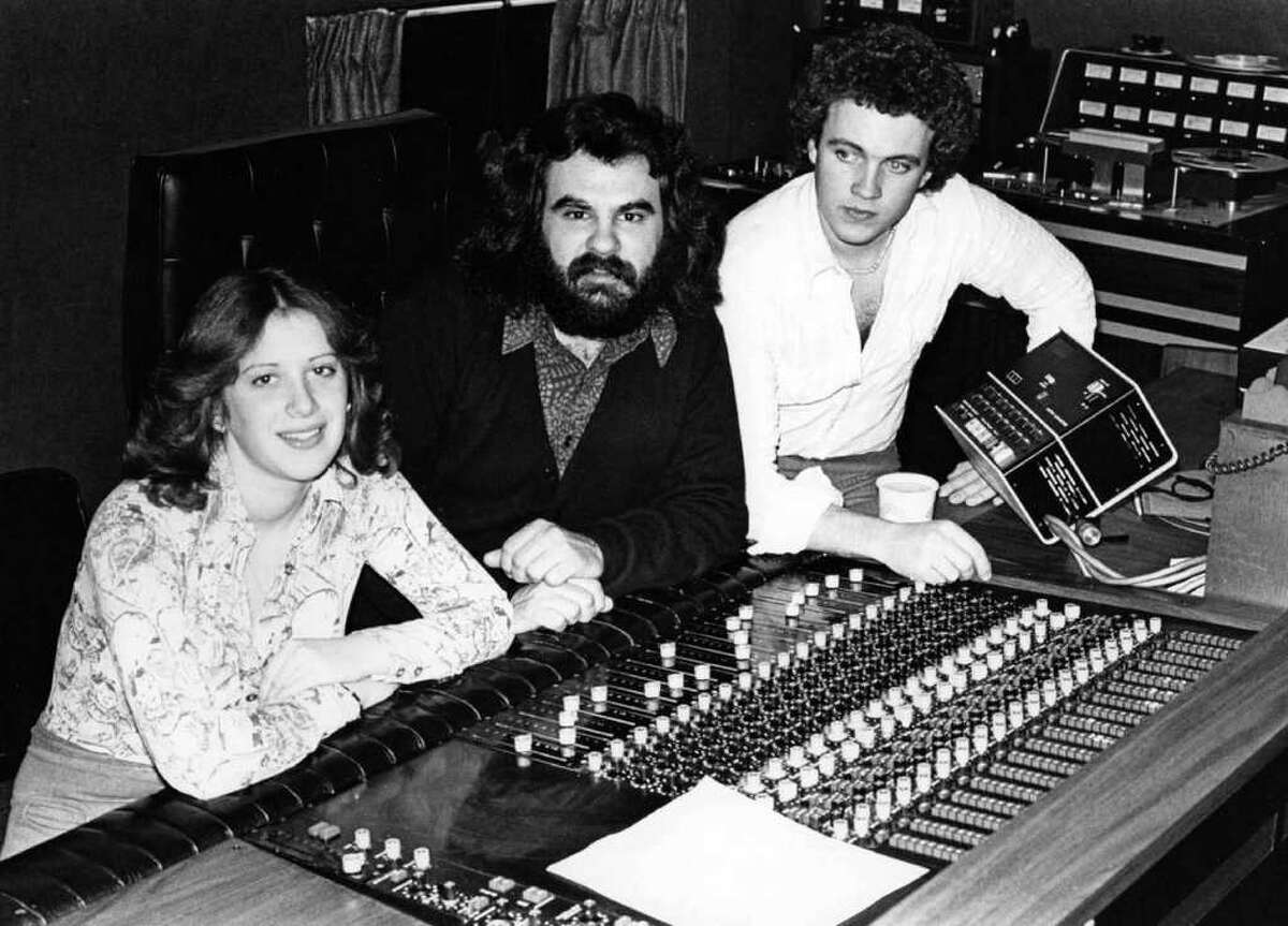 Music producer Paul Leka, center, with Steve Gaspár and Suzanne Nelson, who is now Gaspárís wife. In the late 1960s and through the 1970s, Lekaís Connecticut Recording Studios on Main Street in Bridgeport was where a number of top artists recorded. The photo was taken at the studio in about 1972.