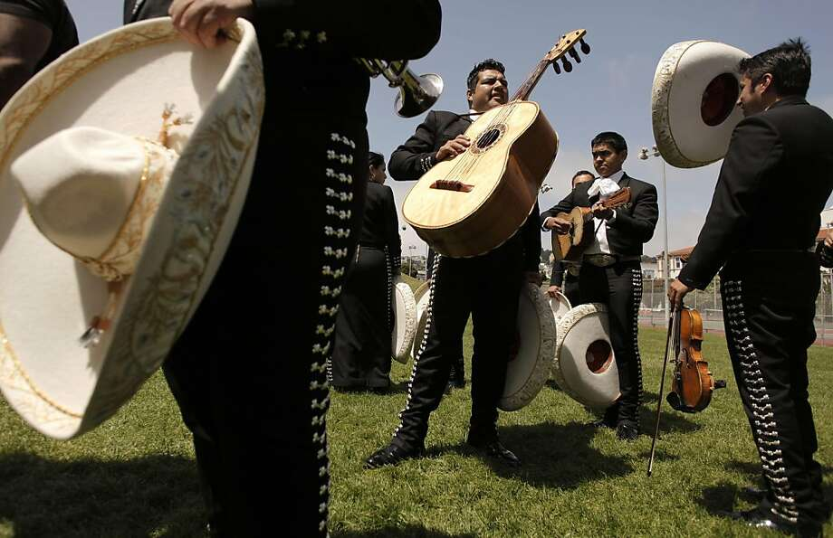 Members of El Mariachi Mexicanisimo prepare to take the stage at the seventh annual Cinco de Mayo festival at Dolores Park in San Francisco on Saturday. Photo: Michael Macor, The Chronicle