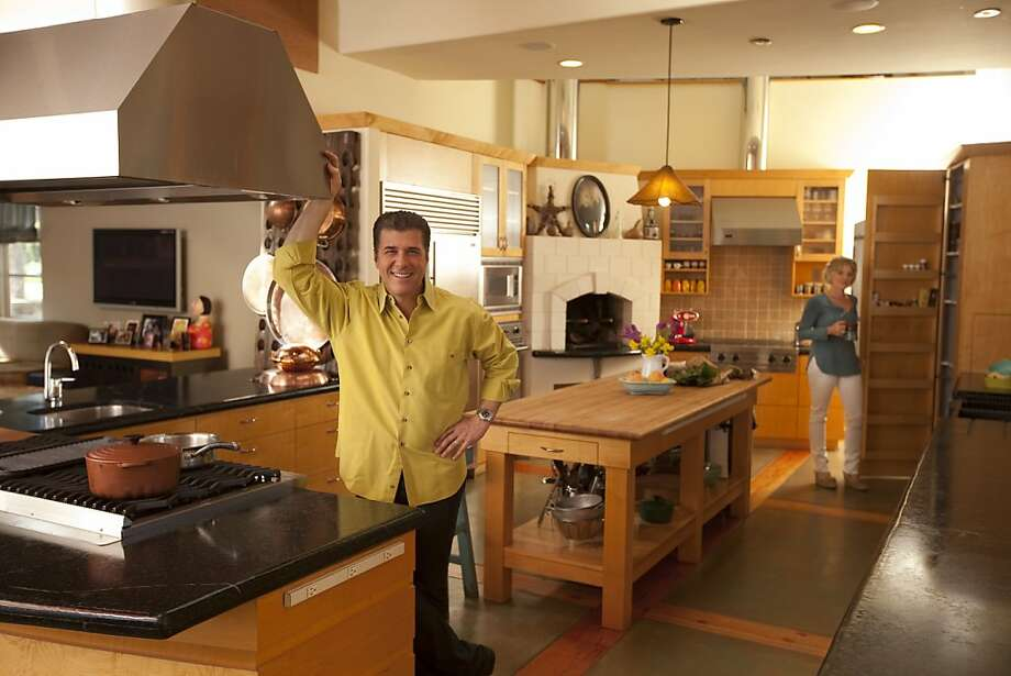 Michael Chiarello and his wife, Eileen Gordon in their home kitchen in St. Helena, California, on Tuesday, April 5, 2011. Photo: Craig Lee, Special To The Chronicle