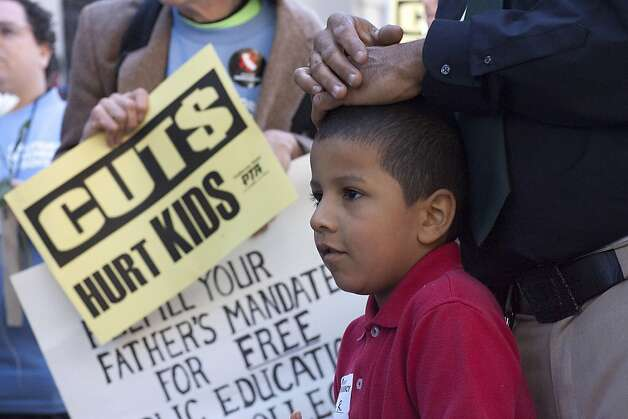 Santiago Rodriguez, 5 in pre school  attends a rally to protest cuts to schools on May 9, 2011 in Sacramento, Calif. Photograph by David Paul Morris/Special to the Chronicle Photo: David Paul Morris, Special To The Chronicle