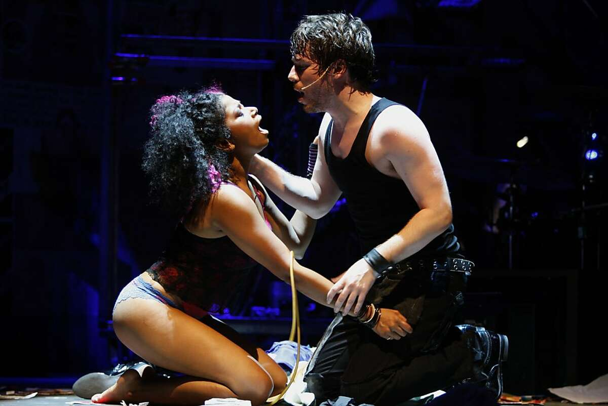 Rebecca Naomi Jones (left) playing Whatsername with John Gallagher, Jr. (right) as Johnny, during the final dress rehearsal for Berkeley Rep's Roda Theatre world premiere of