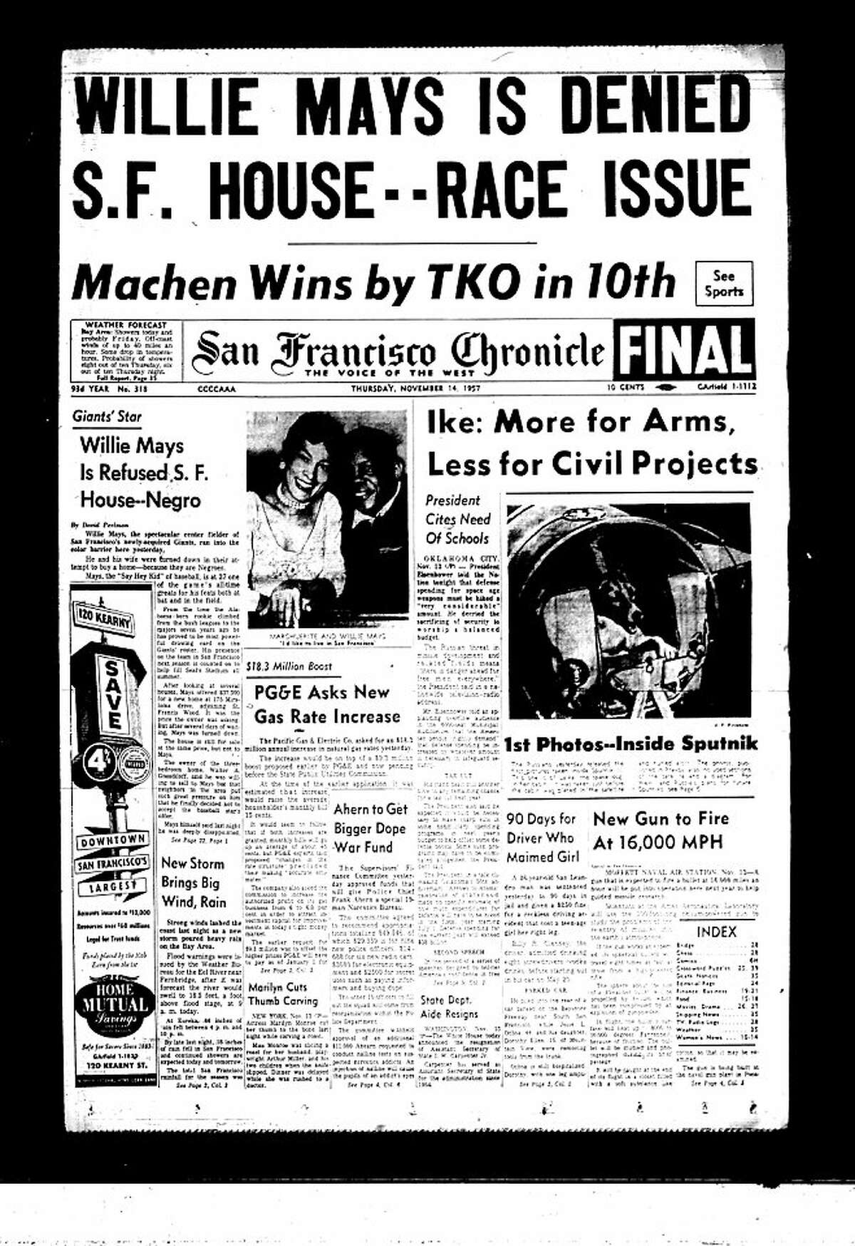 San Francisco Chronicle front page from 1957, with Willie Mays being denied a house in SF.