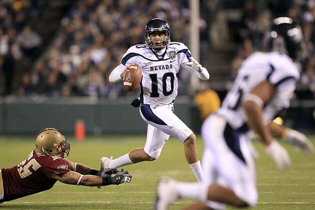 SAN FRANCISCO, CA - JANUARY 09:  Colin Kaepernick #10 of the Nevada Wolf Pack looks to pass the ball against Boston College during the Kraft Fight Hunger Bowl at AT&T Park on January 9, 2011 in San Francisco, California.  (Photo by Ezra Shaw/Getty Images) Photo: Ezra Shaw, Getty Images