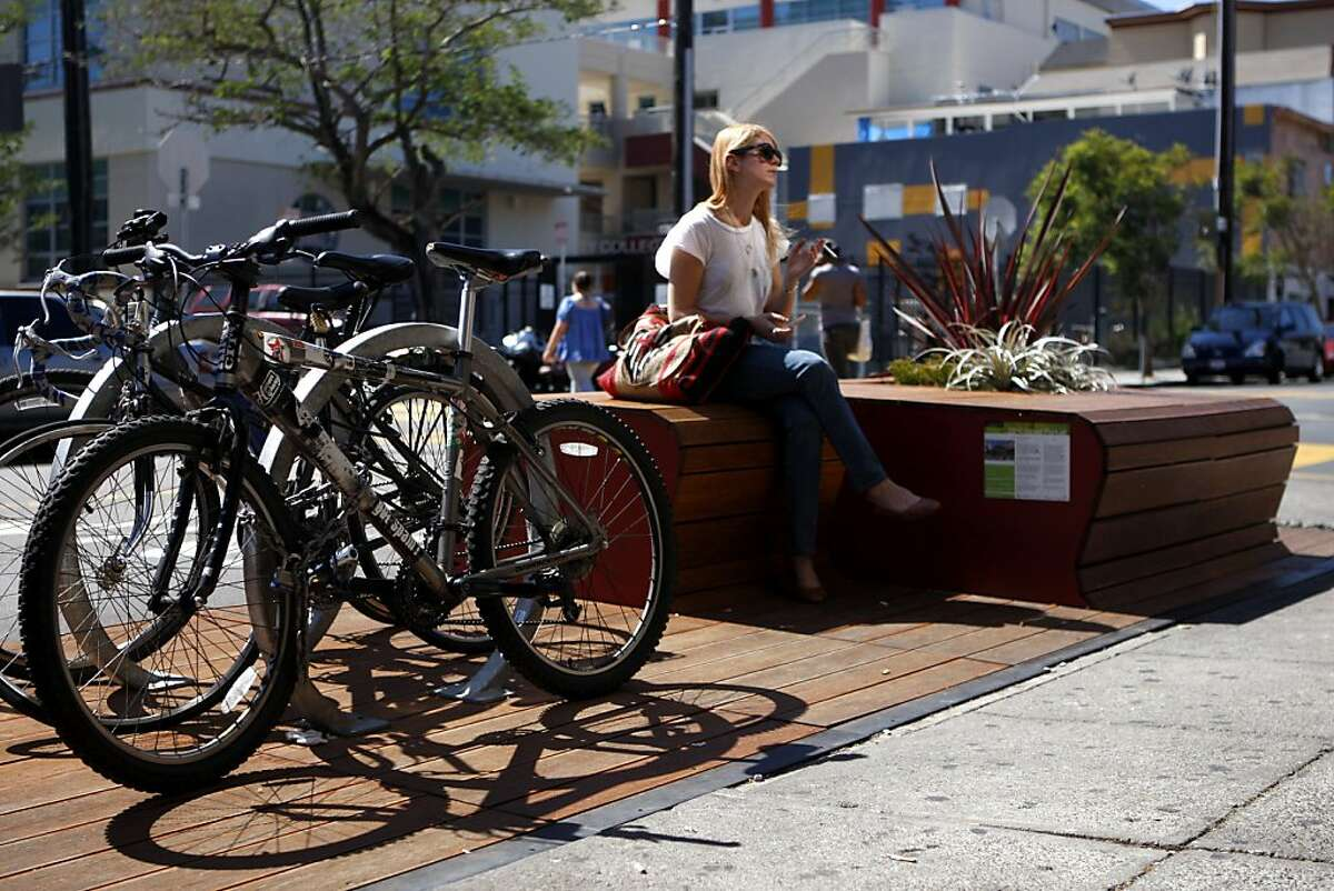 Stephanie Garges sits at the 22nd st. parklet in San Francisco, Calif., on Sept. 24, 2010.