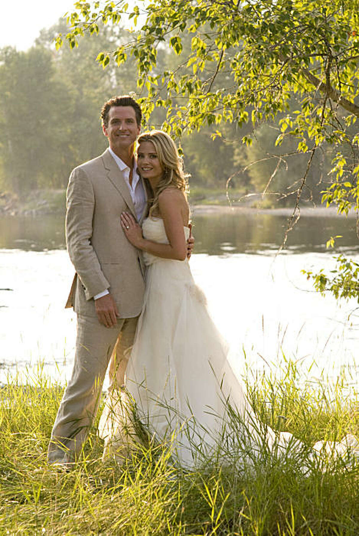 Mayor Gavin Newsom and his bride Jennifer Siebel at their wedding location in Montana.