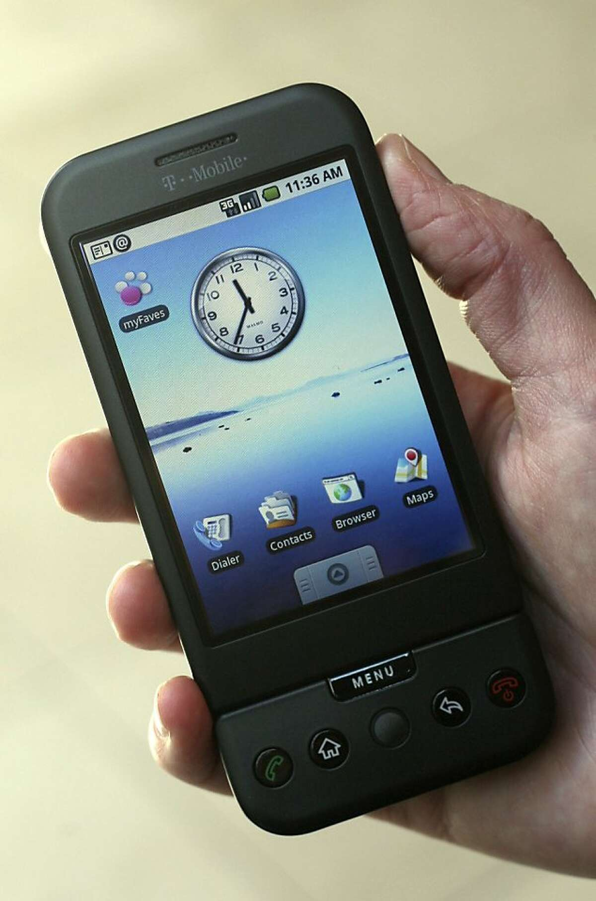 ** FILE ** In this Sept. 23, 2008 file photo, the T-Mobile G1 Android-powered phone, the first cell phone with the operating system designed by Google Inc., is shown in New York.