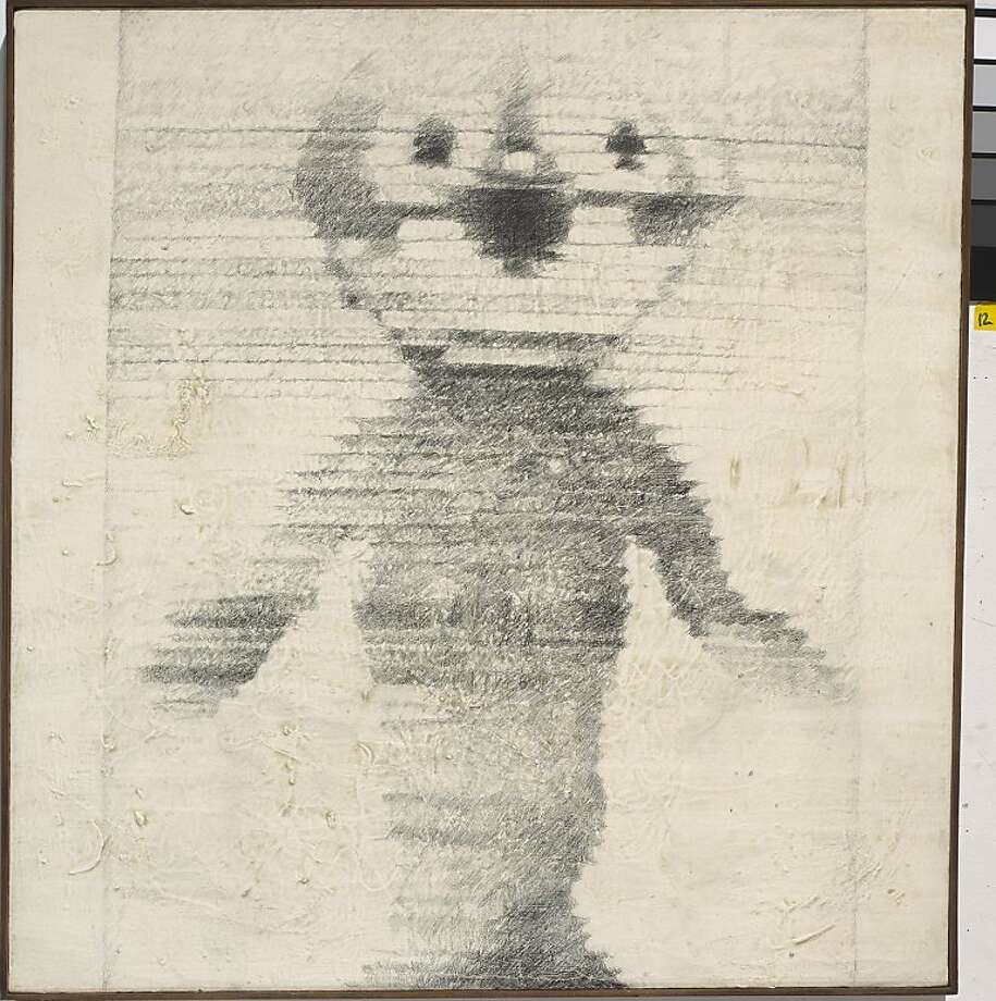 """Felix the Cat"" (2000) graphite on canvas by Wally Hedrick Photo: Unknown, Richmond Art Center"