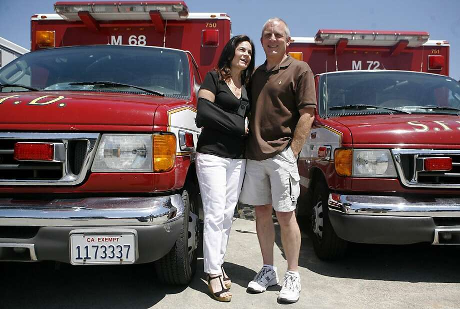 Steve and Irene Ager are two SF Fire Department paramedics who just retired. They met on the job on a city ambulance rig and worked together for twenty-six years. Photo: Anna Vignet, The Chronicle