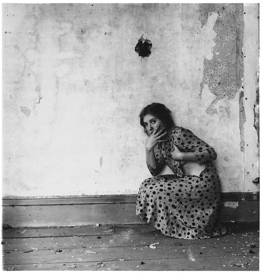 12.Francesca Woodman, Polka Dots, Providence, Rhode Island, 1976; gelatin silver print; 5 1/4 x 5 1/4 in. (13.3 x 13.3 cm); courtesy George and Betty Woodman; © George and Betty Woodman Photo: Francesca Woodman