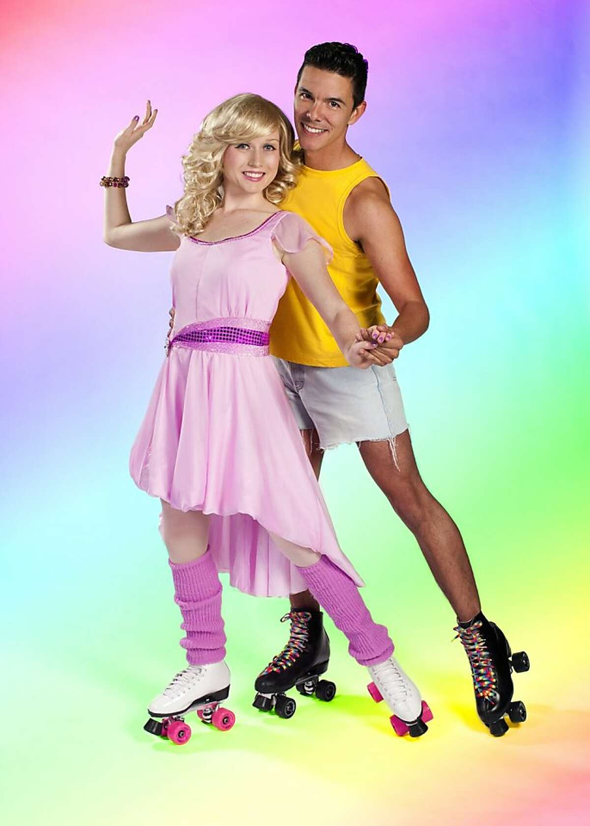 Xanadu 1: Chloe Condon is Kira, the roller-skating muse, and Jesus Martinez is Sonny, the sidewalk muralist, in the New Conservatory Theatre Center production of