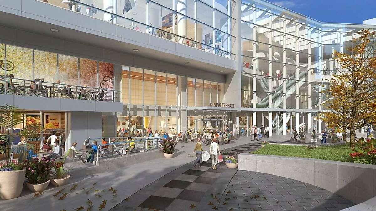 Metreon is undergoing some improvements. An artist rendering of the Metreon's Dining Terrace facing Yerba Buena Gardens.