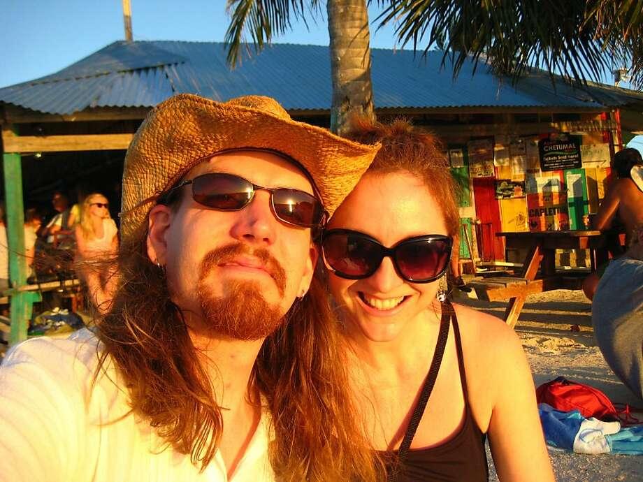 Kathy Gonzalez and RJ Wofford of San Jose at Caye Caulker, Belize. Photo: Courtesy Of Kathy Gonzalez