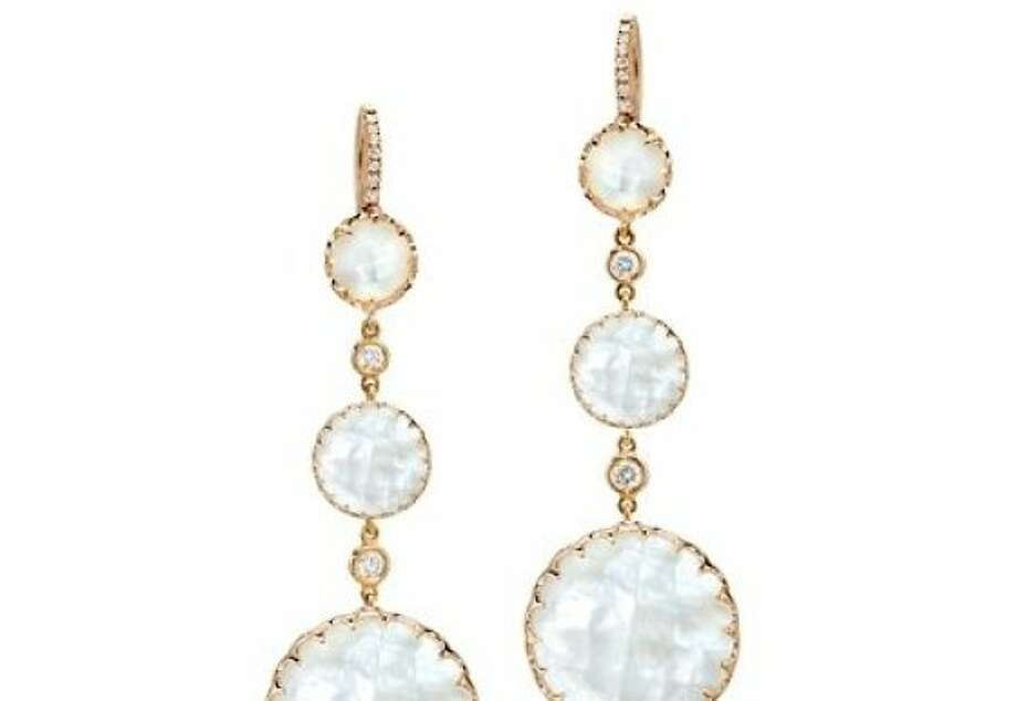 Rose Gold Mother of Pearl drop earrings on pave diamond French wire. $2,300. Photo: Courtesy Ivanka Trump Fine Jewel