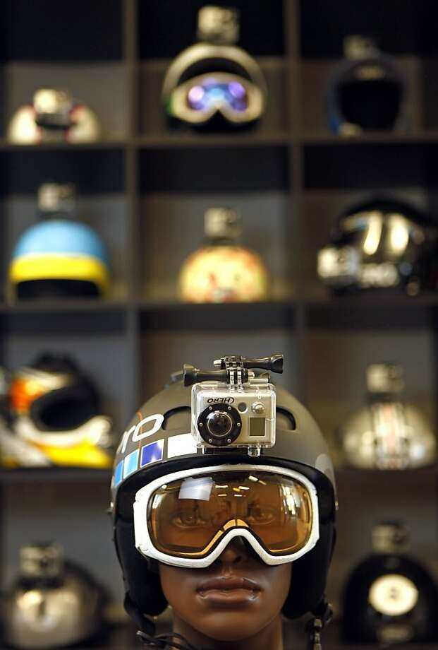 A manican helps display one of the GoPro, products mounted on the helmet at GoPro headquarters in Half Moon Bay Wednesday May, 4, 2011 Photo: Lance Iversen, The Chronicle