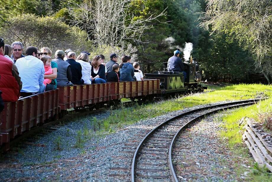Engineer, J.P. Koehn pilots a packed train on the Redwood Valley Railway inTilden Regional Park in Berkeley, Calif. on Monday, March 14, 2011.    Kat Wade / Special to the Chronicle Photo: Kat Wade, Special To The Chronicle