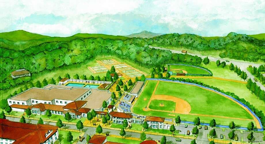 Full View_Recreation_Corridor.jpg is the full view of what the completed Athletics and Recreation Corridor will look like. The new Joseph L. Alioto Recreation Center, which includes is pictured on the left and on the right is the new ball park for the Gaels Baseball team. In between the two facilities, there will be a plaza that connects the two new facilities with the existing Korth Tennis Complex and Cottrell Softball Field. Photo: Courtesy Of Saint Mary's College