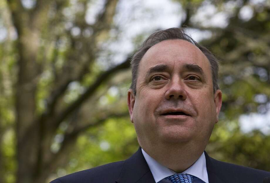Scottish First Minister Alex Salmond addresses the media at the Prestonfield Hotel in Edinburgh, Scotland, on May 6, 2011. Scotland moved closer to a vote on independence after the party of nationalist First Minister Alex Salmond secured a historic majority Friday in elections for the Edinburgh parliament. Photo: Jonathan Mitchell, AFP/Getty Images