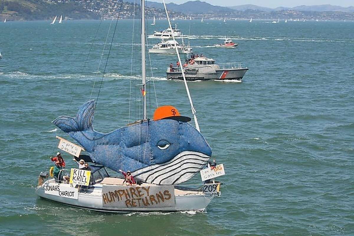 : Dave Hand and his boat Jabberwock, representing Island Yacht Club, won first place among decorated sailboats in the Pacific Inter-Club Yacht Association 95th Annual Opening Day Parade, themed