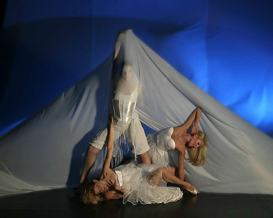 "Quixotic Dance Technologies' ""Google Woman: Images of Female,"" May 6-8, Z Space Photo of dancers Paris Wages, Devon LaRussa and Terrin Kelly Photo: Scott Belding"