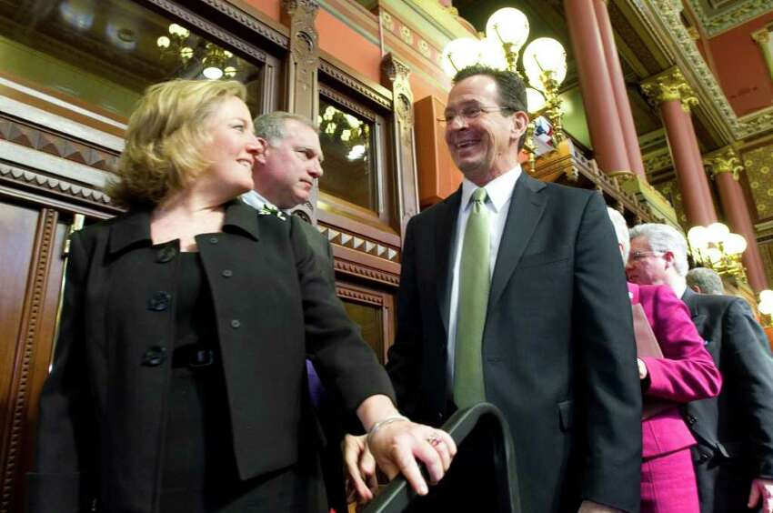Governor Dannel P. Malloy presents his budget address to a joint session of the General Assembly in Hartford, Conn. on Wednesday, Feb. 16, 2011.