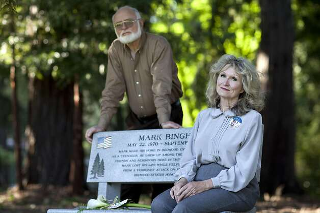 Alice Hoagland, the mother of Mark Bingham, sits on a bench memorializing her son with her brother Linden Hoagland near their home in Redwood Estates, Calif., on Monday, May 2, 2011.  Bingham died on 9/11 on United Airlines Flight 93 and was one of the passengers who attempted to storm the cockpit in an attempt to regain control of the plane from the hijackers. Photo: Laura Morton, Special To The Chronicle