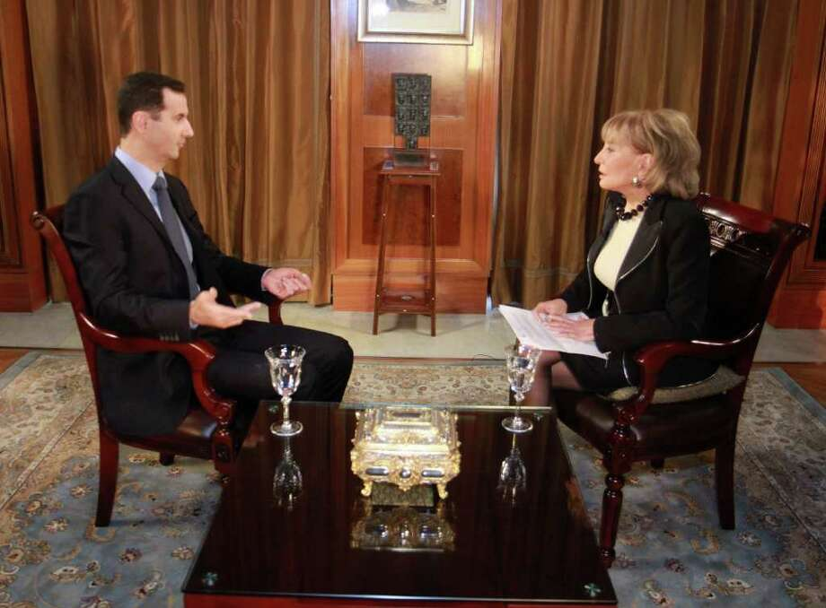 "President Bashar Assad of Syria speaks with ABC News anchor Barbara Walters. Assad says his ""is a very difficult country to govern if you don't have popular support."" Photo: ROB WALLACE, ABC"