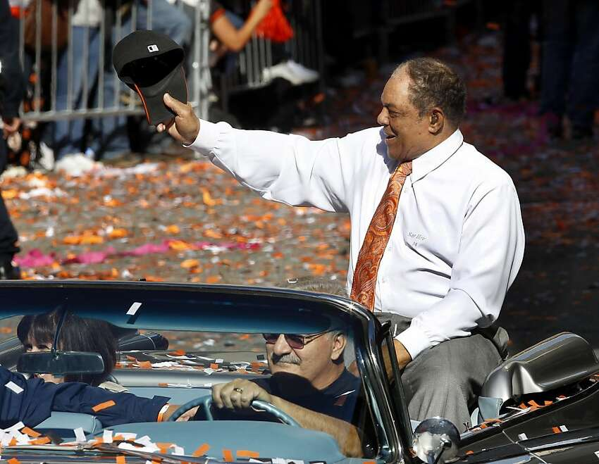 Willie Mays greeted the crowd as he drove down Montgomery Street Wednesday November 3, 2010. Thousands of San Francisco Giant fans attended a parade in downtown San Francisco, Calif. celebrating the teams World Series victory.