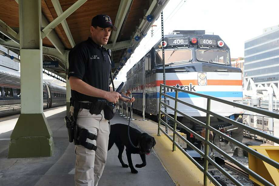 An Amtrak police officer and a sniffer dog patrol a platform at Union Station in Washington on May 6, 2011, five days after al-Qaeda head Osama bin Laden was killed by US Navy Seals in Pakistan. Intelligence seized from bin Laden's compound in Pakistan showed his al-Qaeda network pondered strikes on US trains on the 10th anniversary of the September 11 attacks, US officials said. Photo: Stephane Jourdain, AFP/Getty Images