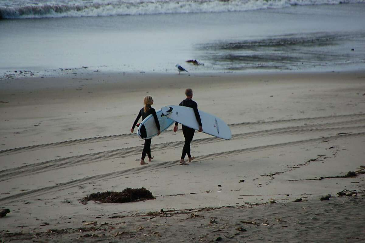 KTVU meteorologist Bill Martin and his 13-year-old daughter, Avery, searching for the perfect wave.