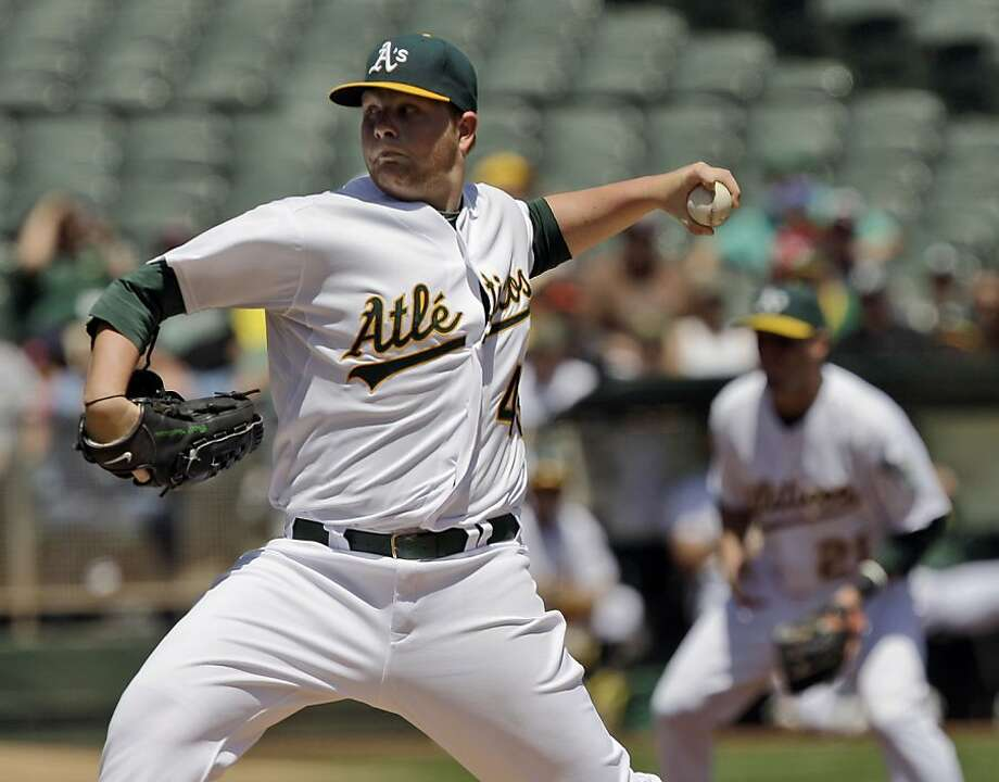 Oakland Athletics starting pitcher Brett Anderson throws to the Cleveland Indians during the first inning of a baseball game in Oakland, Calif., Thursday, May 5, 2011. Photo: Marcio Jose Sanchez, AP