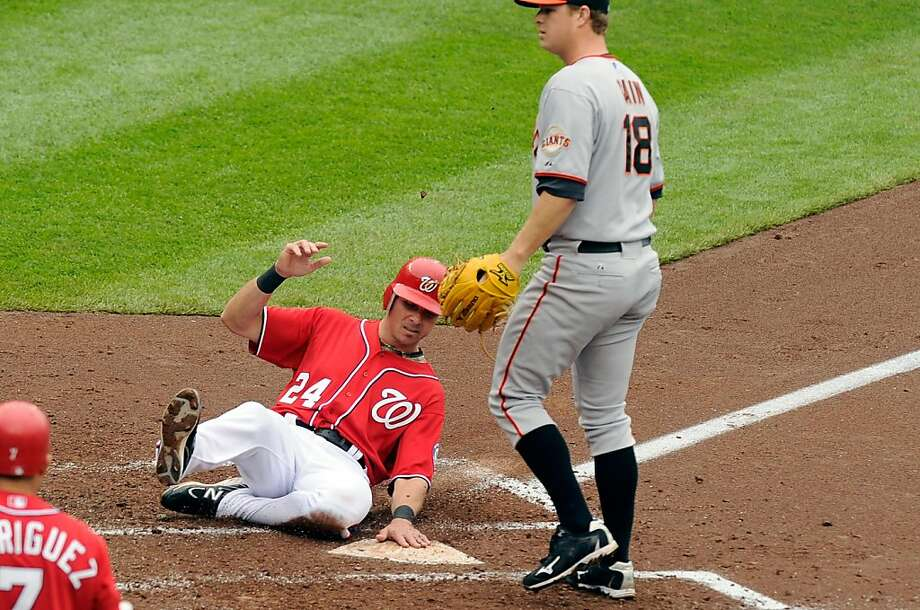 WASHINGTON, DC - MAY 01:  Rick Ankiel #24 of the Washington Nationals scores in the third inning on a wild pitch by Matt Cain #18 of the San Francisco Giants at Nationals Park on May 1, 2011 in Washington, DC. Photo: Greg Fiume, Getty Images