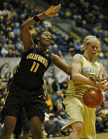 Cal's DeNesha Stallworth struggles with Baylor's Melissa Jones on Sunday in Berkeley. Photo: Lacy Atkins, The Chronicle