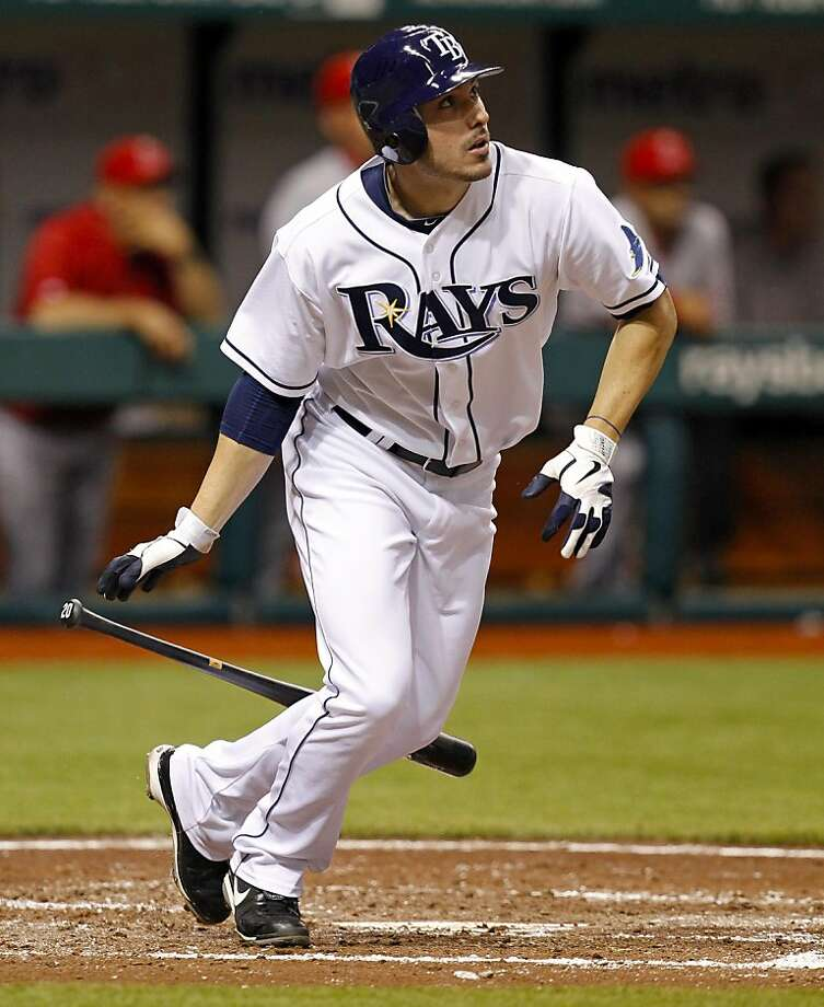 Tampa Bay Rays' Matt Joyce watches his three-run home run during the third inning of a baseball game against the Los Angeles Angels, Friday, April 29, 2011, in St. Petersburg, Fla. Photo: Mike Carlson, AP