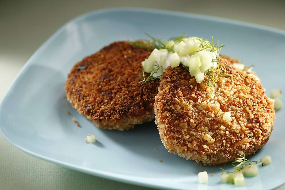 Salmon patties as seen in San Francisco, California, on Wednesday April 20, 2011. Food styled by Sarah Fritsche.