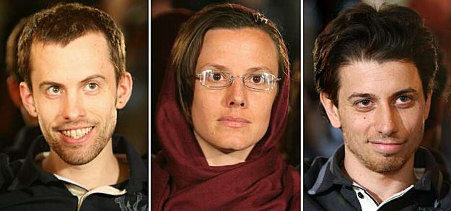 (FILES)--A picture combo dated May 20, 2010 shows detained US hiker (L-R) Shane Bauer, recently freed hiker Sarah Shourd and detained hiker Josh Fattal during a meeting with their mothers in Tehran. The trial of three American hikers charged with espionage, which had been set for November 6, has been postponed, Iran's prosecutor Gholam Hossein Mohseni Ejeie said on November 01, 2010. Photo: Atta Kenare, AFP/Getty Images