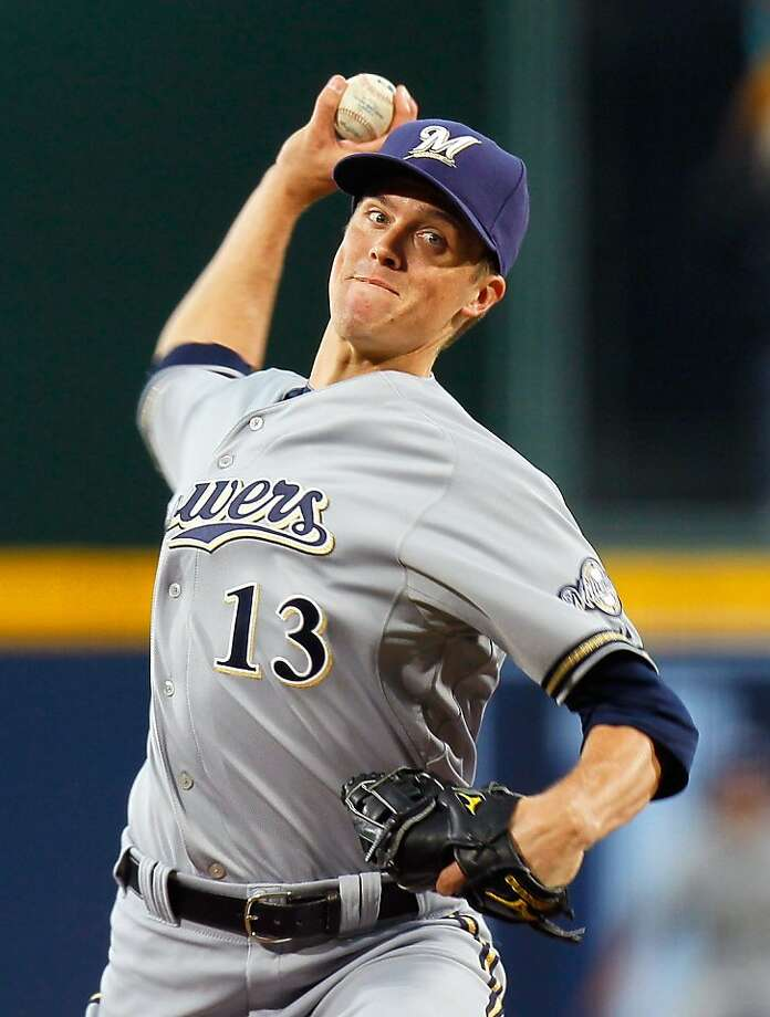 ATLANTA, GA - MAY 04:  Zack Greinke #13 of the Milwaukee Brewers pitches in the first inning against the Atlanta Braves at Turner Field on May 4, 2011 in Atlanta, Georgia. Photo: Kevin C. Cox, Getty Images