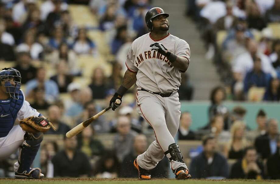The Giants' Pablo Sandoval watches his solo home run in the second inning against the Los Angeles Dodgers on Sunday at Dodger Stadium. Photo: Michael Macor, The Chronicle