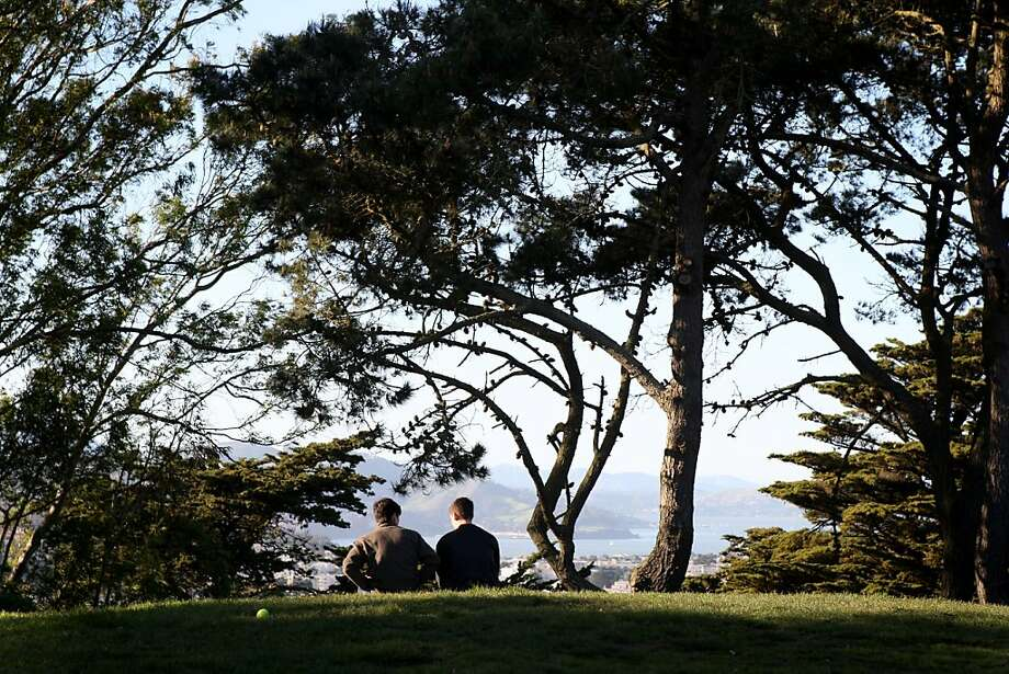 Patrick Hemmerle (right) and Titus Lottig (left), visiting from Dresden, Germany, sit in the Buena Vista Park in San Francisco, Calif. Saturday March 13, 2010 Photo: Jana Asenbrennerova, The Chronicle