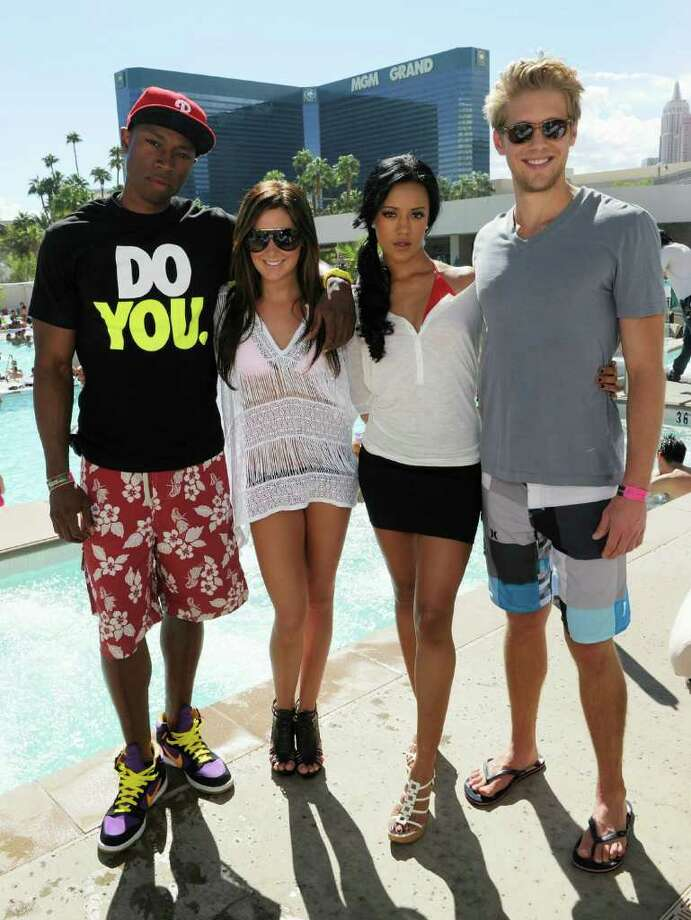 """Cast members from the television show """"Hellcats"""" including actor Robbie Jones, actress Ashley Tisdale, actress Heather Hemmens and actor Matt Barr, appear at the Wet Republic Ultra Pool at the MGM Grand Hotel/Casino. Photo: Ethan Miller / Getty Images North America"""