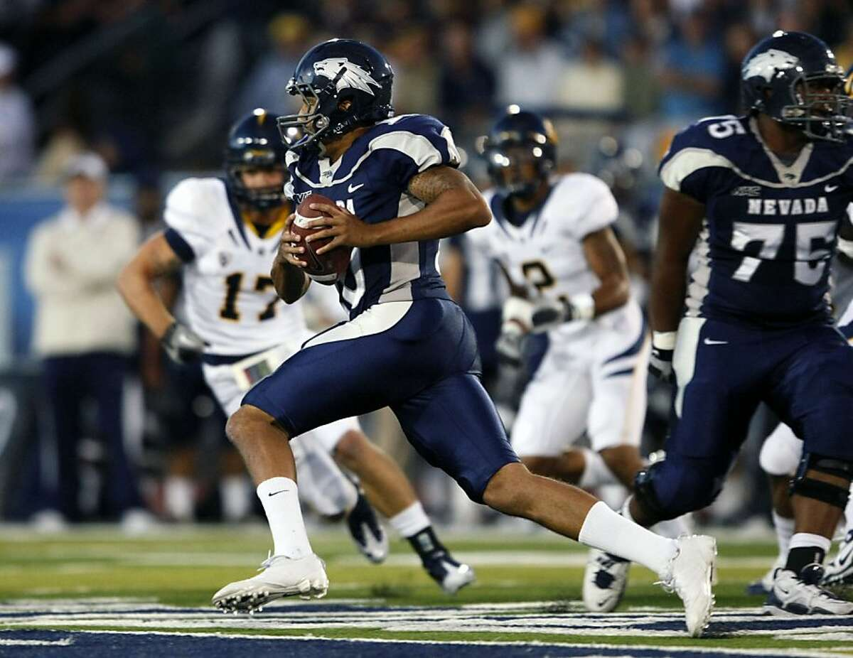 Nevada's Colin Kaepernick scambles for a 25 yard first down in the cfirst half of an NCAA college football with California Friday, Sept. 17, 2010, in Reno, Nevada.